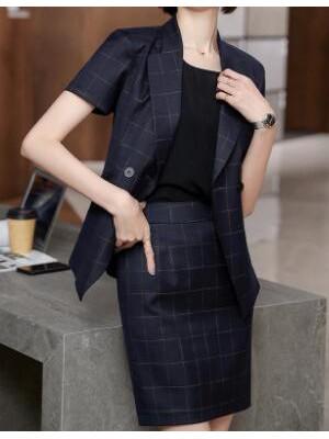 女士纯色西装修身气质时尚短袖上衣大方格双排扣正装西装117-JY69013