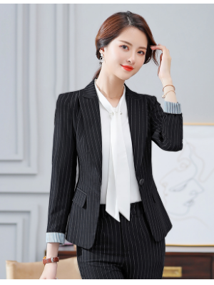女士长袖职业修身气质翻领条纹外套西装上衣124-A865