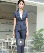 2019夏季薄款职业装西装套装女时尚气质休闲商务正装114-1318(外套+长裤)
