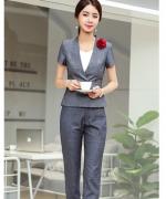 职业装女时尚韩版女神范工作服气质短袖正装套装114-1319(外套+长裤)