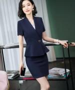 春夏新款时尚职场气质优雅短袖修身西装套装女172-8603