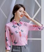 蝴蝶花纹优雅气质职业修身上衣衬衫有领翻领124-B3195