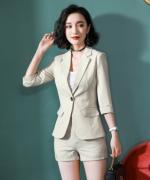女士都市白领修身商务通勤气质优雅职业条纹套装YS-8862