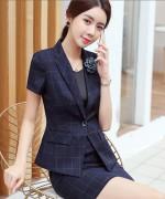 职业装气质女神范夏季西装套装名媛小香风酒店经理工作服高端韩版114-1308套装(外套西裙)