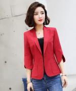 职业气质西装时尚通勤修身商务女士优雅上衣外套珠感自然皱131-8108