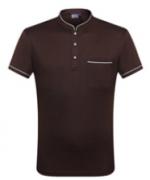 亚麻珠地纯色商务立领T恤 HL-0012