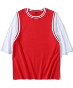 240g26支纯棉落肩假两件篮球服上衣通款178-E001