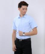 商务细斜纹职业男款短袖衬衫180-481-3