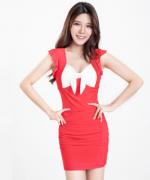 新款女子性感时尚优雅百搭显瘦短袖连衣裙182-1119