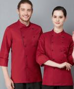 餐厅后厨厨师长工作服西餐厅长袖厨师服侧加边LYDS-L036