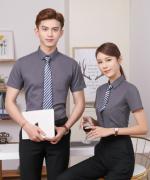 职场西装斜纹短袖男女同款衬衫上衣 111-201短袖斜纹