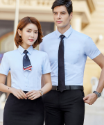 细斜纹男女同款修身通勤短袖上衣都市时尚商务职业短袖衬衫QZ-8807