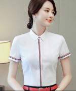 都市白领商务通勤女士短袖显瘦修身商务通用衬衫132-692