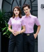 平纹弹力棉商务短袖衬衫男女款 180-CQ666