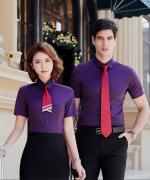 平纹微弹男女同款修身通勤短袖上衣都市时尚商务职业短袖衬衫QZ-8801