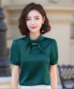 白领气质修身韩版职场职业装衬衫短袖140-6856