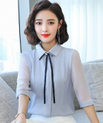 女士通勤休闲百搭商务修身气质优雅职业装衬衫中袖YL-1937A