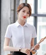 白色优雅气质职业修身上衣衬衫有领翻领短袖124-B3193
