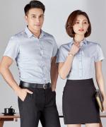 男女款商务职业短袖百搭衬衫修身条纹 129-1866