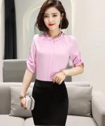 新款夏装职业气质时尚通勤修身商务女士优雅上衣短袖衬衫海鸟丝缎面131-6008