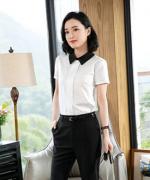 女士休闲潮流气质优雅通勤职业装短袖衬衫HN-933