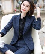 女格子气质商务西装工作服西装职业装套装YS-19111外套-5502马甲-2202裤子