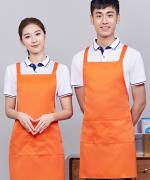 双肩带可调工作服女时尚男家用厨房服务员围裙121-198