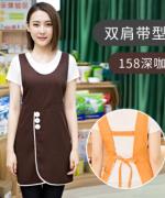 双肩带型工作服女时尚男家用厨房服务员围裙121-158