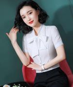 女士都市白领修身商务通勤气质优雅职业装短袖衬衫YS-A017