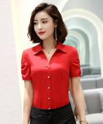 新款夏装职业气质时尚通勤修身商务女士优雅上衣短袖衬衫海鸟丝缎面131-6006