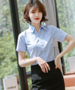 条纹竖条衬衫女士职业气质优雅液氧免烫短袖上衣128-DV98