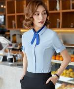 气质职场女士短袖衬衫都市白领修身职业装衬衫109-5802