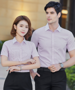白领细竖纹男女同款都市时尚商务职业短袖衬衫修身通勤短袖上衣QZ-801