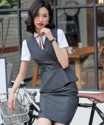 正装商务修身显瘦气质优雅职业装马甲三件套82-653马甲858衬衫C17西裙