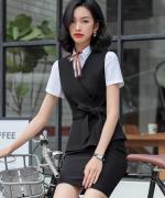 女士商务修身收腰气质优雅显瘦职业装马甲三件套82-636衬衫858马甲C77西裙