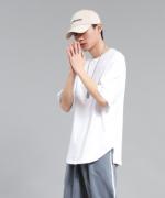 纯棉开叉宽松五分袖t恤 80-B05