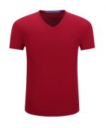 简约百搭时尚潮流柔软舒适透气丝光棉V领短袖T恤 40-020