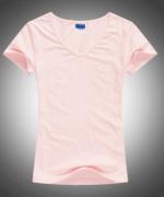 210g32支莱卡精梳棉V领纯色短袖T恤女款 92-A111