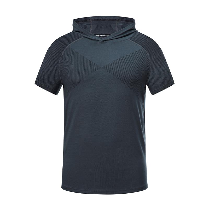170g涤纶线条布连帽短袖休闲运动T恤男款32-A28