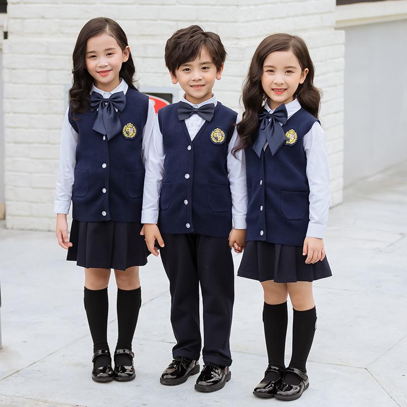 背心三件套英伦风校园风范中小学生校服168-8841