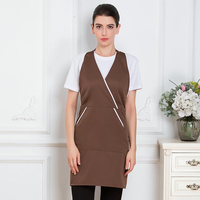 工作呢厨房饭店套头V领挂脖围裙YLYS-18858