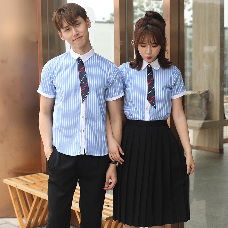 男生英伦学院风套装校服班服制服白领蓝条(短袖 裤子)套装150-C0304010