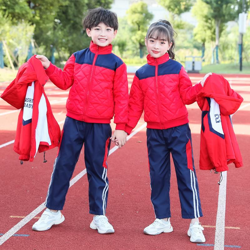 春秋中小学生教师校服儿童班服学院风校服加厚加棉两件套套装冲锋衣TYF-88102