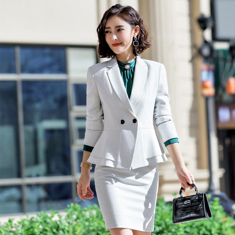 网纹商务职业装套装140-870套裙
