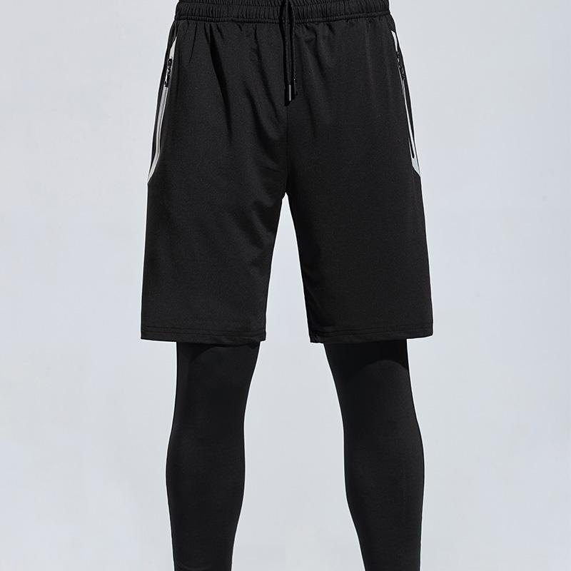 190g弹力牛奶丝假两件运动训练长裤男款32-625