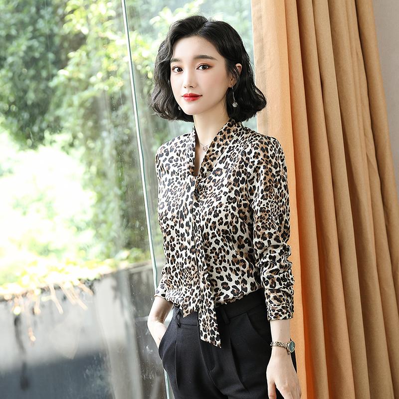 破卡豹纹长袖衬衫女款HN-985