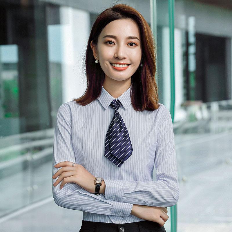 职业通勤细条纹长袖衬衫女QZ-9316