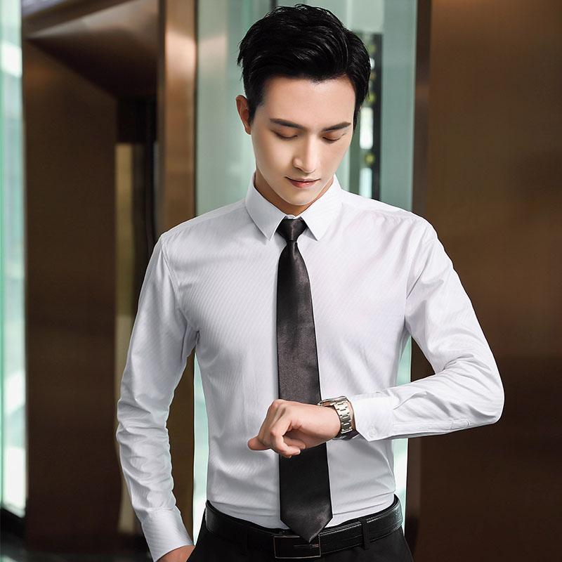 商务大粗斜长袖衬衫男QZ-6306