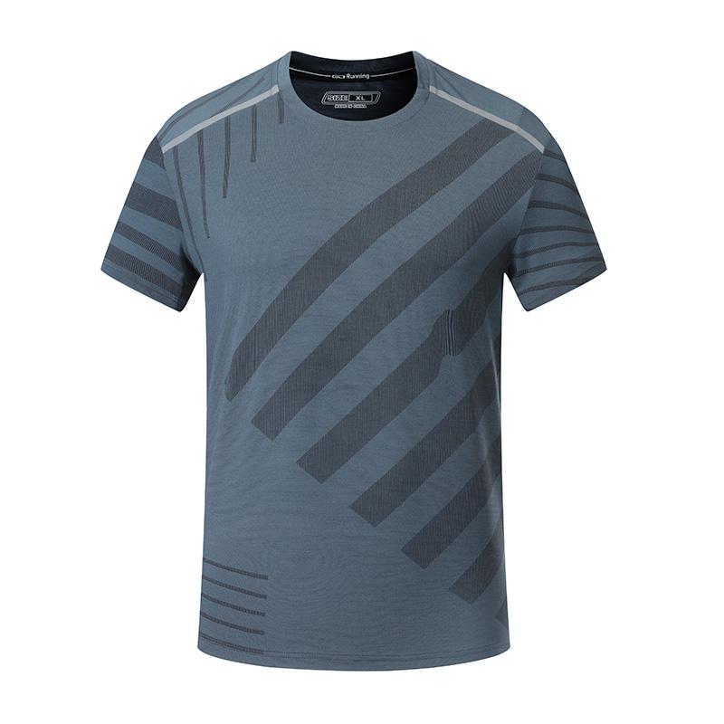 170g涤纶线条布圆领短袖休闲运动T恤男款32-A29