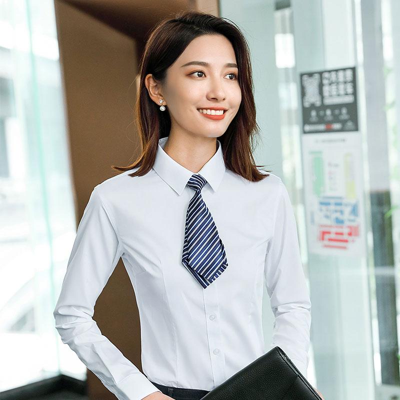 修身竹纤维平纹长袖衬衫女QZ-6318